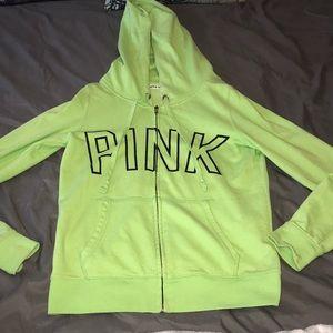 Neon green PINK zip up hoodie